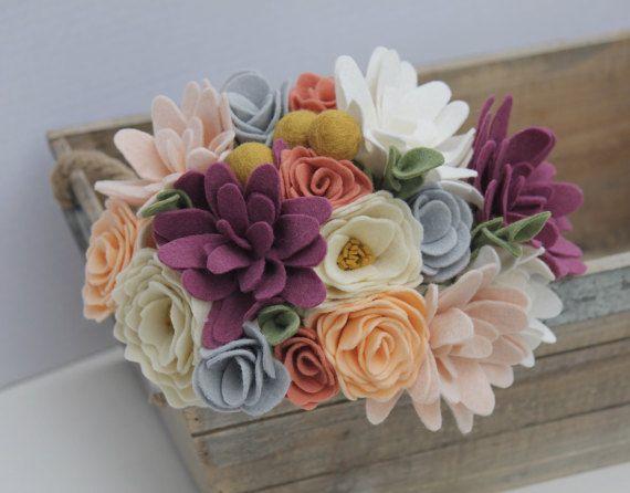 Rustic Felt Flower Bouquet for Wedding or Home Decor by ElleandLu