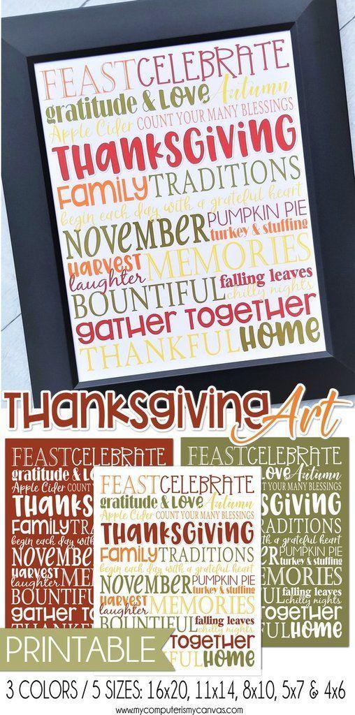 PRINTABLE Thanksgiving Art, Thanksgiving Decor Ideas, Thanksgiving