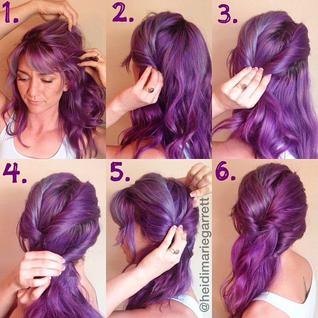 Side-swept hairstyle (without the purple)