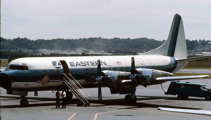 Eastern Airlines Lockheed Electra in 1975 parked at DC airport Eastern Air Lines Lockheed L-188 Electra N5512 c/n 1017 was the third Electra to be delivered on November, 25, 1958.