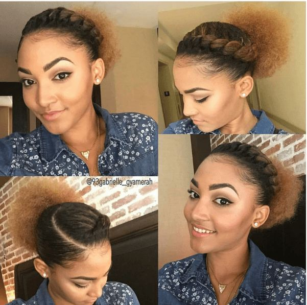Easy Hairstyles For Natural Hair long protective style this is one of my favorite styles because its so easy Super Cute Flat Twist Puff Ig93gabrielle_gyamerah Naturalhairmag Simple Natural Hairstylesmixed Hairstylesnatural Hair