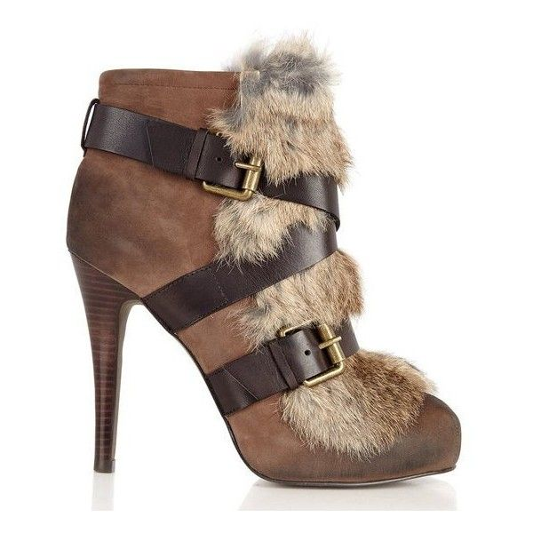 Ash Emma Fur Buckle Boot, $371 BubblesPop ❤ liked on Polyvore