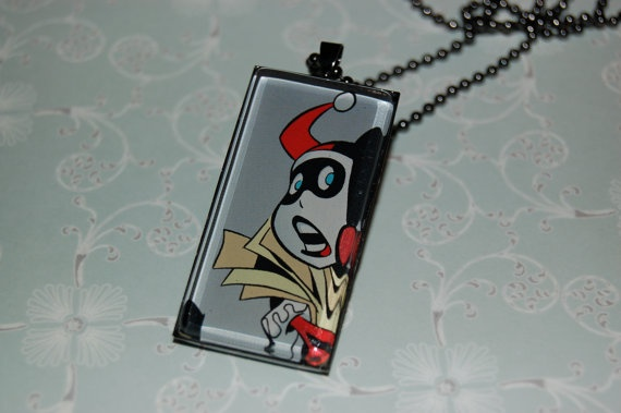 Harley Quinn Comic Book Jewelry  Pendant with 24 by PopCycled, $20.00