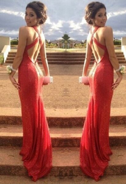 2014 Sexy Red Prom Dress Cross Back Sequined V-neck Long Womens Evening Party Gowns - 1