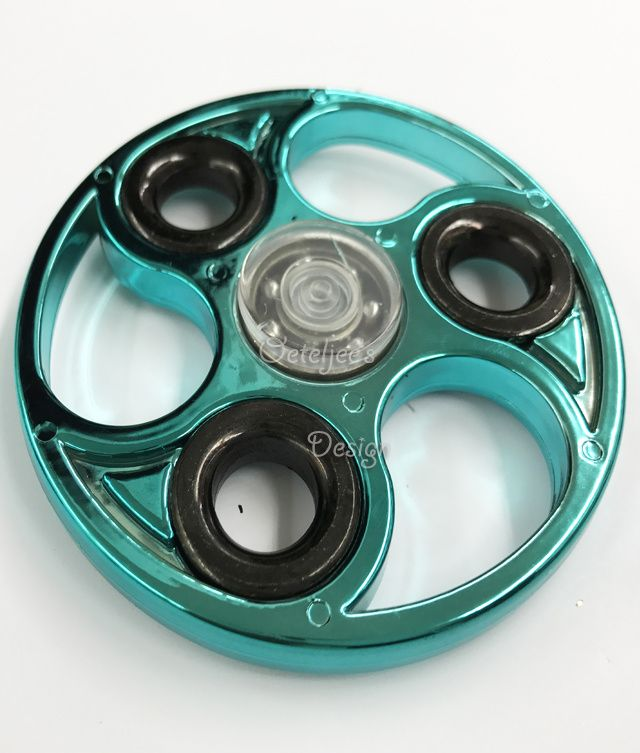 Fidget hand spinner chrome metallic marine blue open wiel