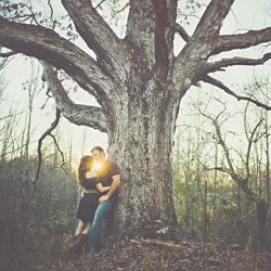 Rustic engagement shot