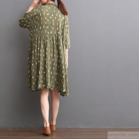 Tea green maternity dress for summer cotton plus size sundressThis dress is made of cotton linen fabric, soft and breathy, suitable for summer, so loose dresses to make you comfortable all the time.Measurement: One Size: length 95cm / 37.05