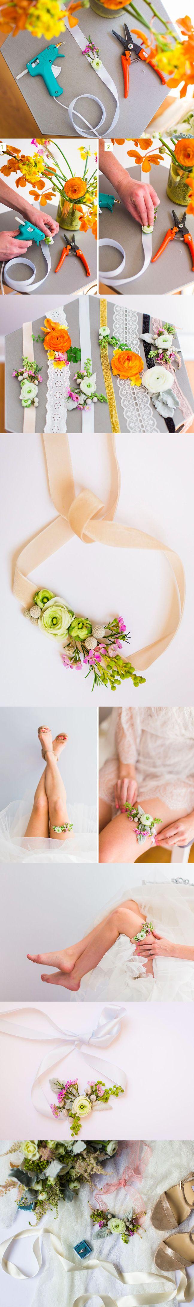 Hazlo tú misma: Liga floral de novia / http://greenweddingshoes.com/