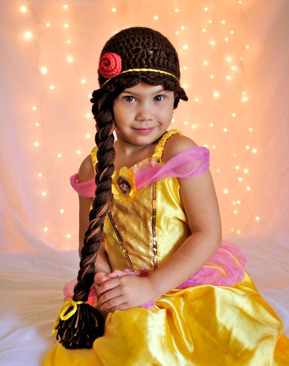 Disney Princess Belle inspired crochet beanie hat wig on Etsy, $35.00