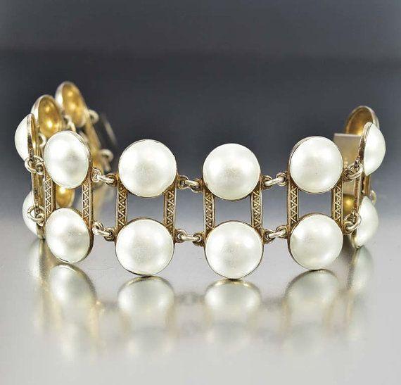 Aksel Holmsen Bracelet, Modernist Sterling Silver Enamel Bracelet, Wide Norway White Enamel Jewelry, Vintage Norwegian Jewelry