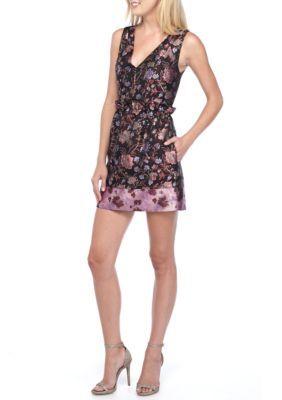 Laundry By Shelli Segal Women's Sleeveless Jacquard Paper Bag Waist Dress - Deep Garnet - 10