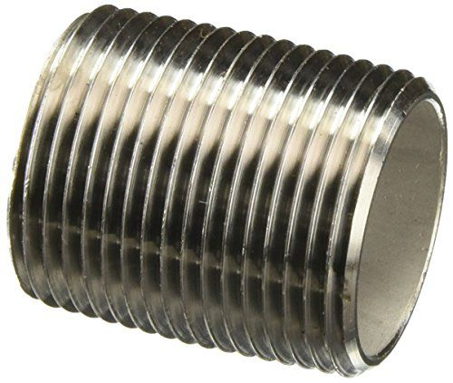 """Stainless Steel 316/316L Pipe Fitting, Nipple, Schedule 40, Seamless, 1"""" X 4"""" NPT Male  Nipple for connecting and extending pipes  Male National Pipe Taper (NPT) threads for connecting female threaded pipes  Made of seamless stainless steel 316/316L for strength  Low carbon content to ensure greater resistance to corrosion  Meets standards ASTM A733, ANSI B1.20.1, and ASTM A312/SA312 for quality assurance"""