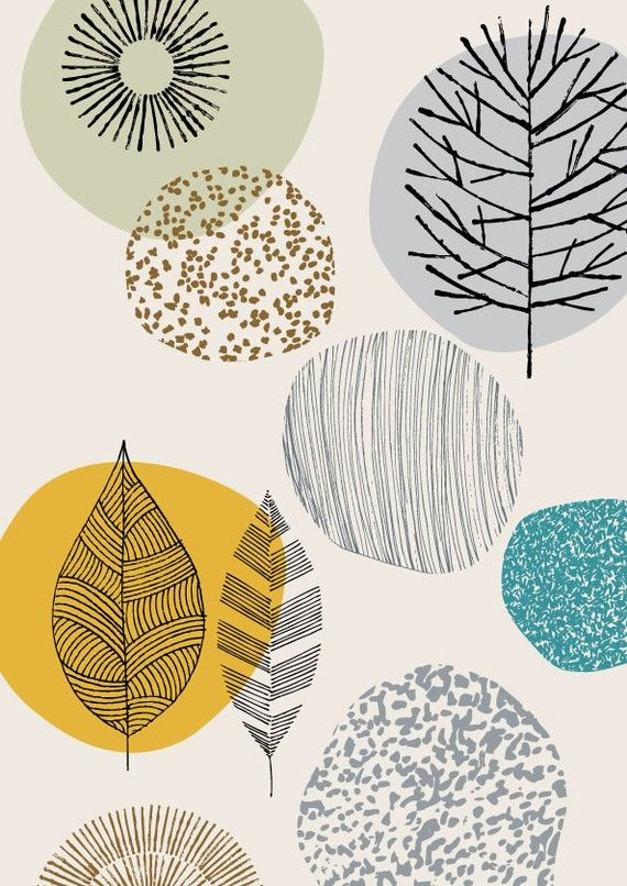 Trees and leafs pattern by Eloise Renouf, textile and stationery designer living in Nottingham. Via etsy.com