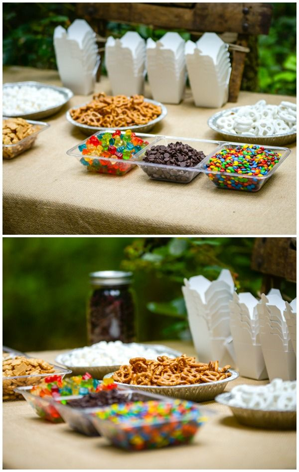 Summer Party Themes - Camping Party Trail Mix Bar #Kids #Parties