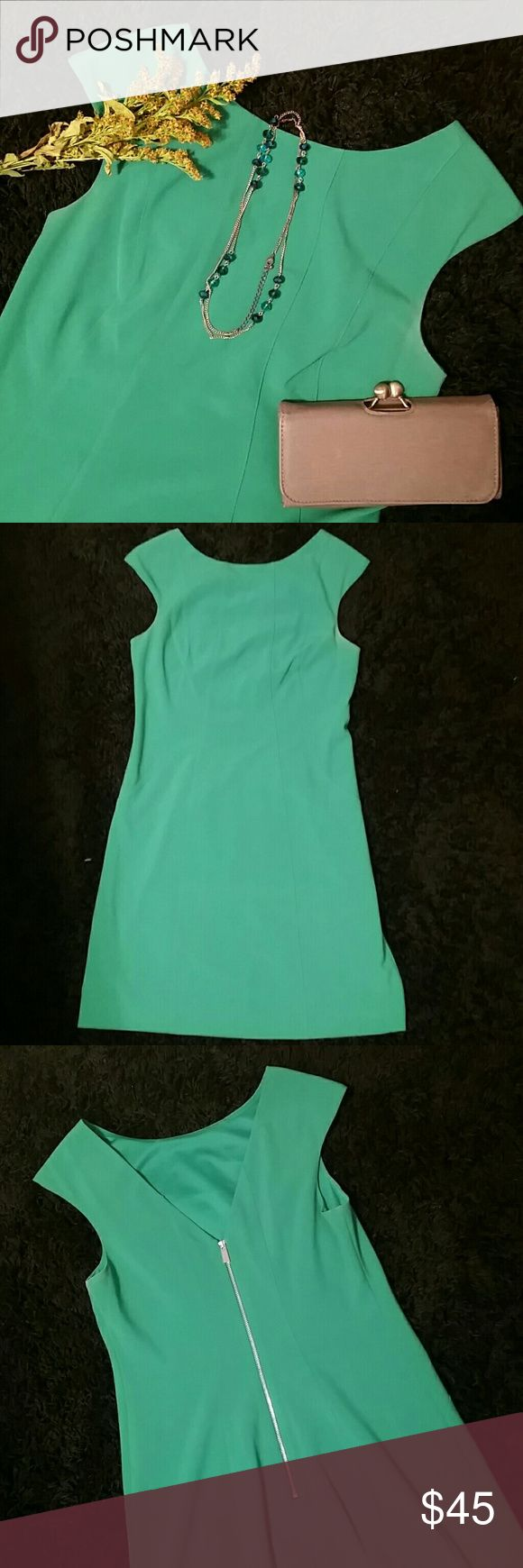 Vince Camuto - Kelly Green Dress - Zipped back - 4 Vince Camuto - Kelly Green Dress - Zipped back - 4. Great condition.  Worn only a couple times. Doesn't fit me anymore. Color is true kelly green.  See last picture. Vince Camuto Dresses Mini