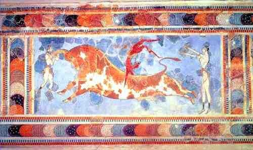 """Bull Leaping, from the palace at Knossos (Crete), Greece, ca.1450-1400 BCE. Fresco, 2'8"""" high, including border. Archaeological Museum, Herakleion."""
