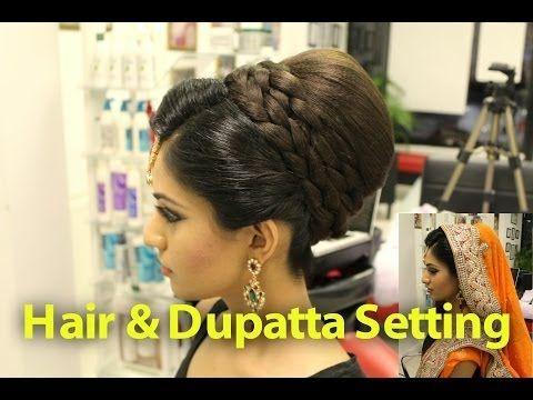 Indian, Pakistani, Asian Bridal Hair Style   Tikka & Dupatta Setting Tutorial   Wedding Hairstyles - YouTube