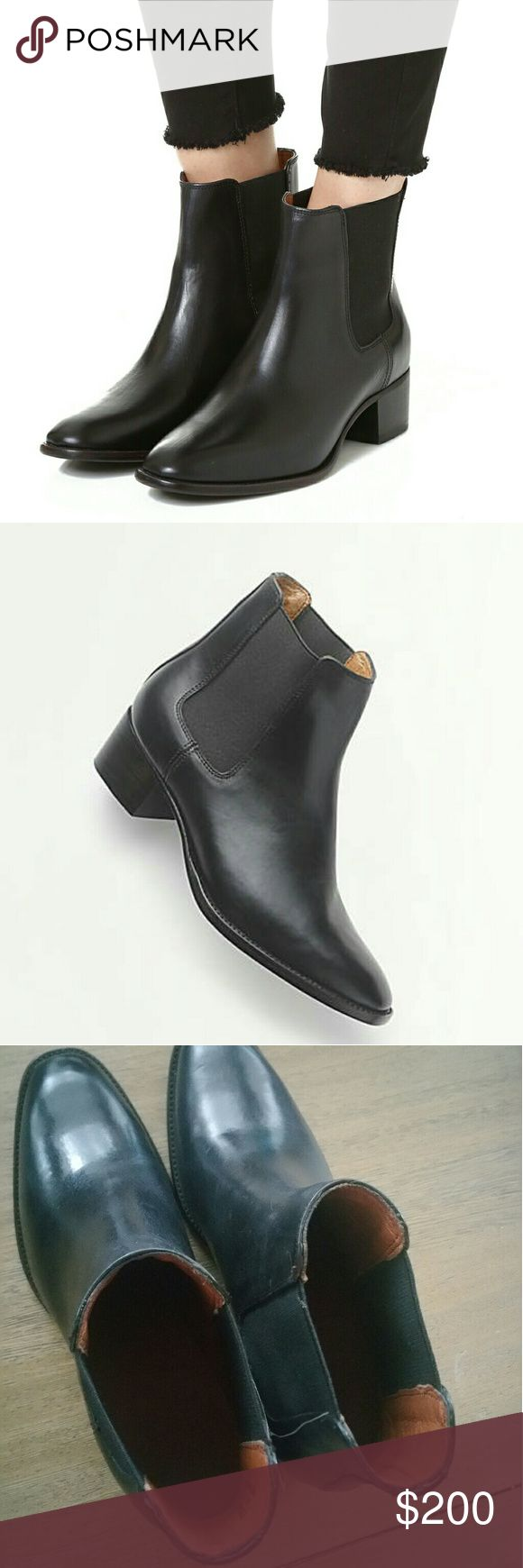 FRYE Dara Chelsea Womens Boot Size 6B Black 100% authentic Frye brand item, new without box or tags. Originally purchased in U.S. retail location,   was store display. First 2 pictures are from manufacturer, for reference use only. Actual product photos are at the end. Color may vary due to lighting / screen calibration. Condition is new but just to be sure, please view pictures for exact condition. Item has some scratches at the bottom and some very light marks on leather, but still looks…
