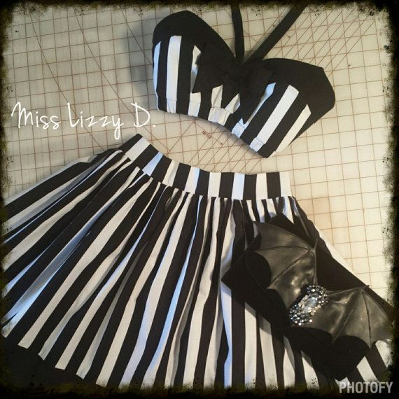 Vintage 50s Retro style Bra Top Pin up Rockabilly Stripe Bow Bandeau Carnival Couture 50s Barbie inspired V neck halter ties vamp couture Vampira bat girl witch couture witchy by MissLizzyD