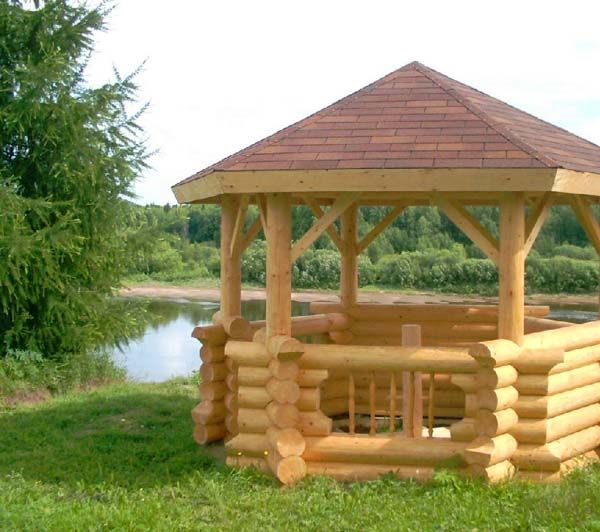 21 best log gazebos images on pinterest gazebo wooden for Rustic gazebo kits