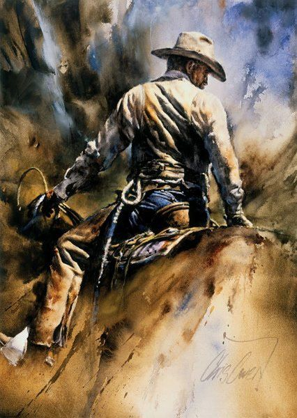 """Artist: CHRIS OWEN- """"Holding Things Together"""" This skilled cowhand is an expert at cinching up and climbing on his horse when the ground crew is ready for calves at the branding. His job is to bring the calves to the wrasslers with a least amount of hassle.  A depiction of motion, energy, form, and brushwork indicate that he is, beyond doubt, """"holding things together"""". - Chris Owen"""