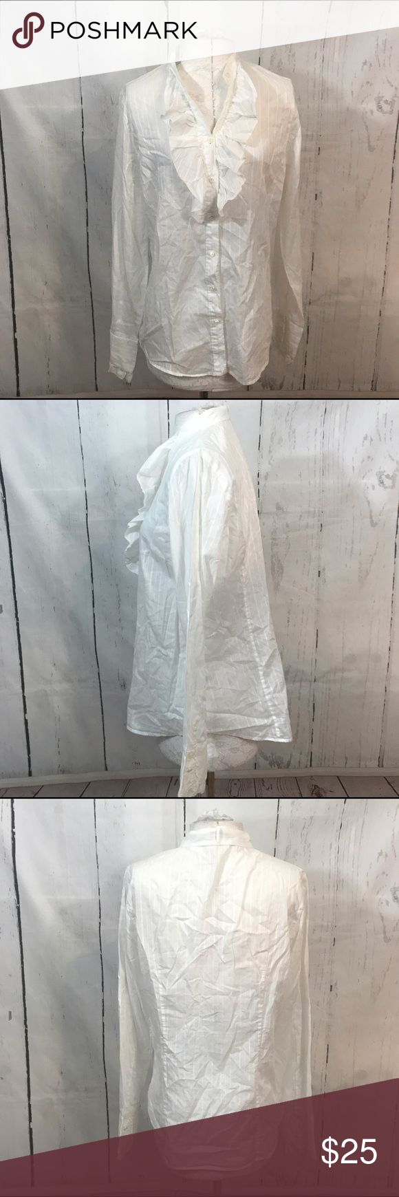 """💙💙 J CREW WHITE VICTORIAN STYLE TOP B32 Condition: Excellent pre owned condition Approximate measurements (laying flat): 20"""" bust 27"""" Length  Item location: bin 32  ❤no trades/no modeling❤ J. Crew Tops Button Down Shirts"""