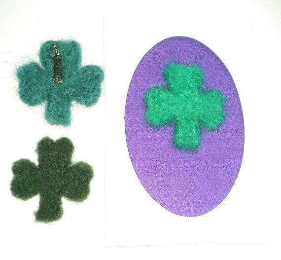 Shamrock brooch needlefelted for St Patricks by WildAtlanticCraft