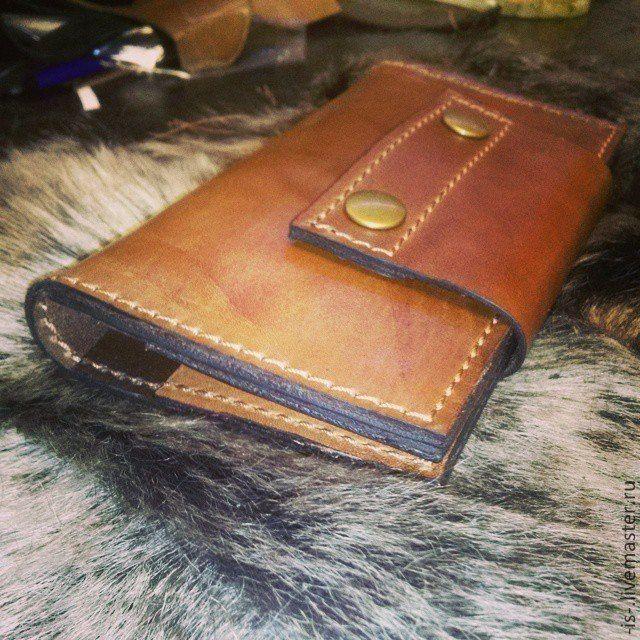 """Купить Кошелек мужской """"Иваныч"""" - коричневый, однотонный, подарок, большой размер, кошелек, кошелек из кожи"""