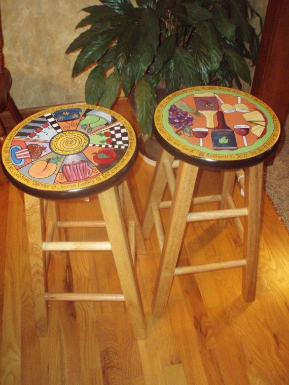 Hand Painted Wooden Bar Stool 24 inch by paintingbymichele, $125.00