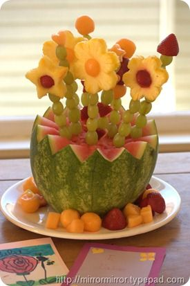 Mother's Day Brunch Idea i think this would be fun to do with the kids for mom or grandma.. Just carve the bottom and let them have fun decorating the rest of it!