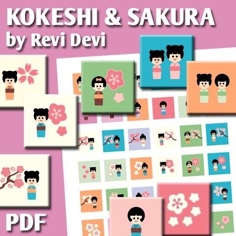Kokeshi And Sakura 16169  Printable Square 1 inch by BlessedShop