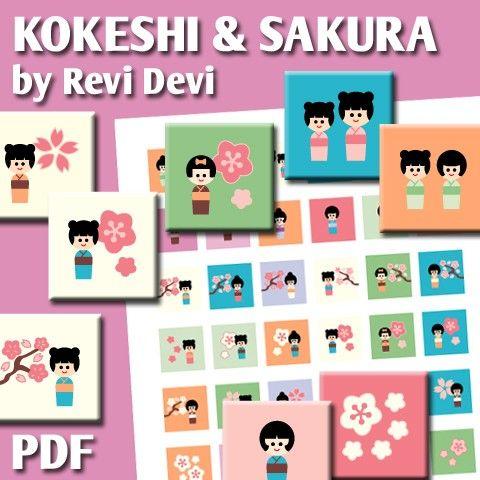 Kokeshi And Sakura 16169  Printable Square 1 inch by BlessedShop