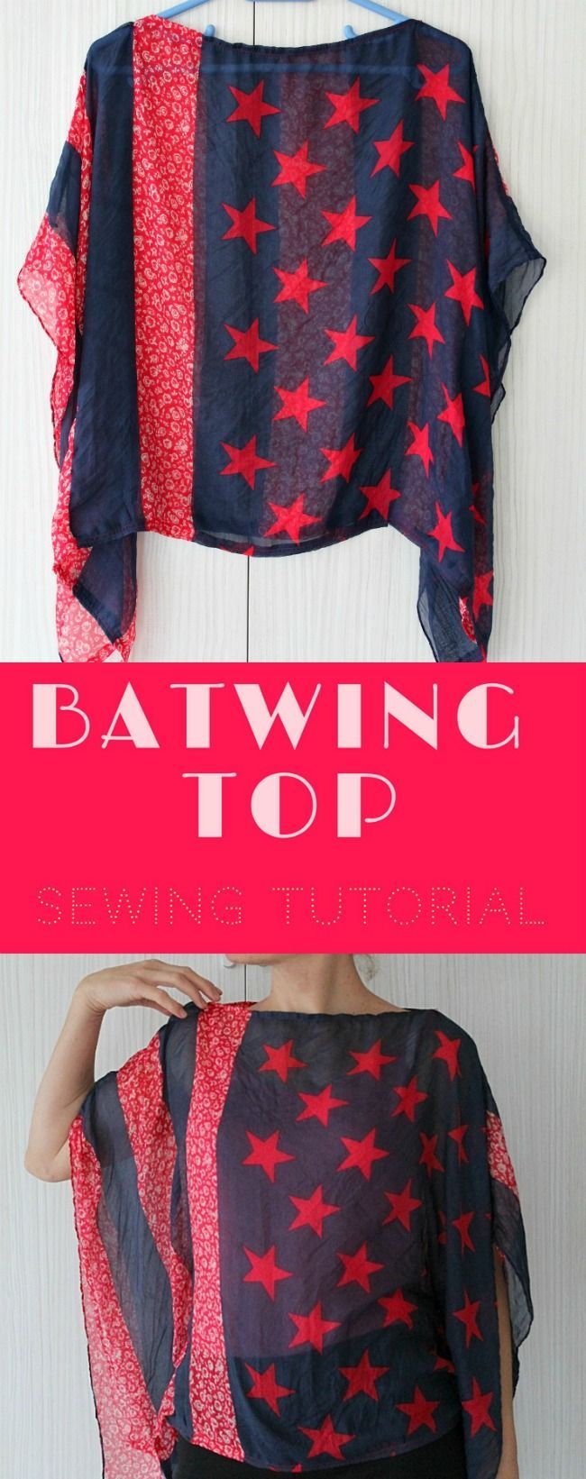 BATWING TOP SEWING TUTORIAL - Make yourself a flattering, comfortable top with this easy and quick Batwing Top Tutorial! All it takes is a nice scarf and a couple of stitches.   #batwingtop #batwing #sewing