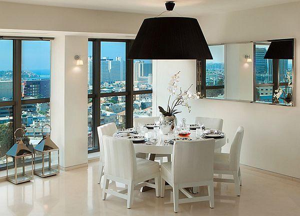Black Ceiling Lamp For White Modern Dining Room