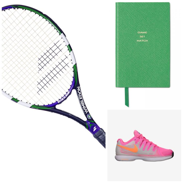Game set match, Smythson. Racket, Babolat  Reakt Tour Wimbledon. Tennis shoes, Nike
