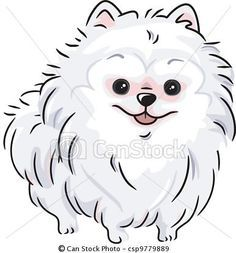 Vector - White Pomeranian - stock illustration, royalty free illustrations, stock clip art icon, stock clipart icons, logo, line art, EPS picture, pictures, graphic, graphics, drawing, drawings, vector image, artwork, EPS vector art