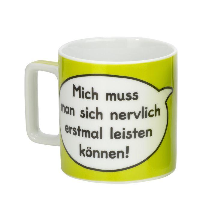 """Sheepworld 42475 Tasse Wortheld """"Mich muss man sich nervlich erst mal leisten können!"""", grün: Amazon.de: Küche & Haushalt"""