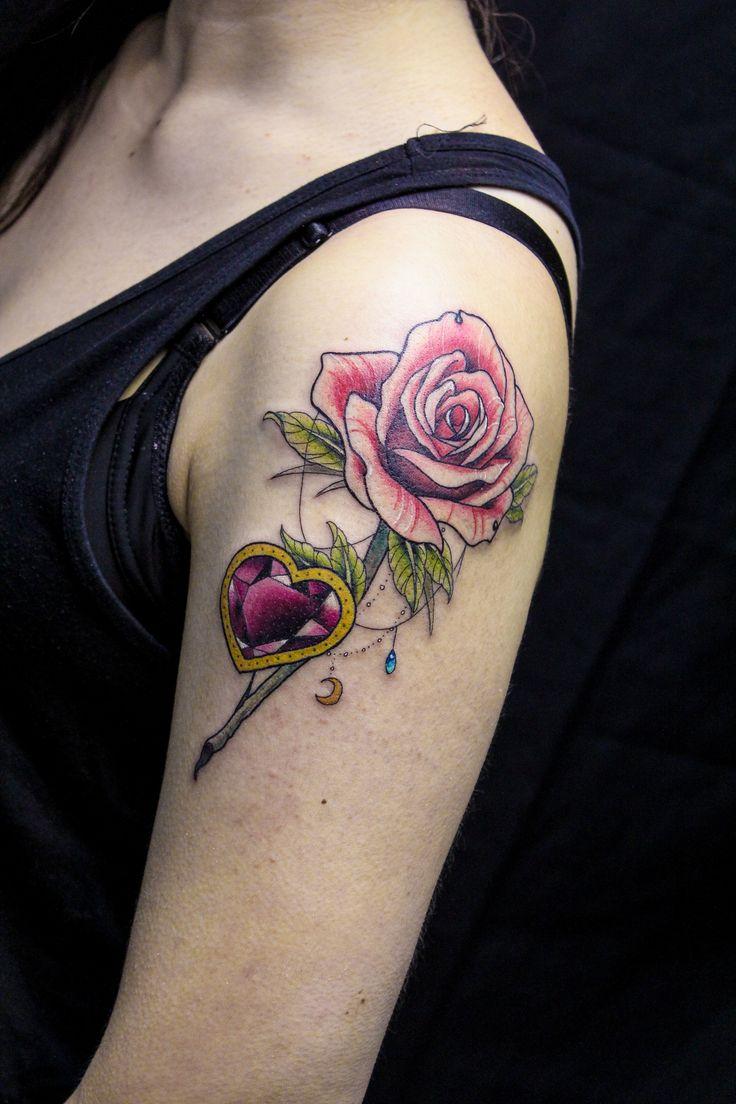 rose tattoo gem tattoo diamond tattoo my tattoo work pinterest gem tattoo rose tattoos. Black Bedroom Furniture Sets. Home Design Ideas