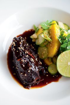 Sweet Soy Braised Beef Cheeks with Mango Salad