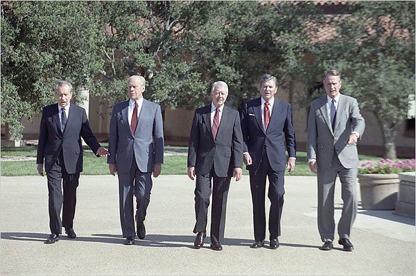 Presidents Nixon, Ford, Carter, Reagan, and Bush in 1991.