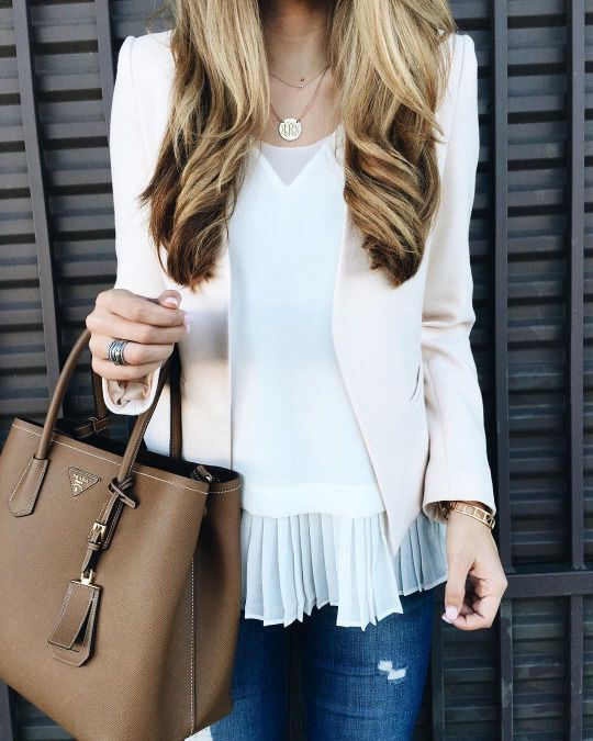 Love the Feminine look - Esp the pleated chiffon on the shirt. But shirt looks casual-ish and comfy!!
