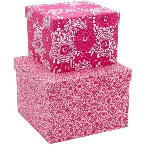 Monsoon Set of 2 Hand-Printed Pink Storage Boxes ❤ liked on Polyvore