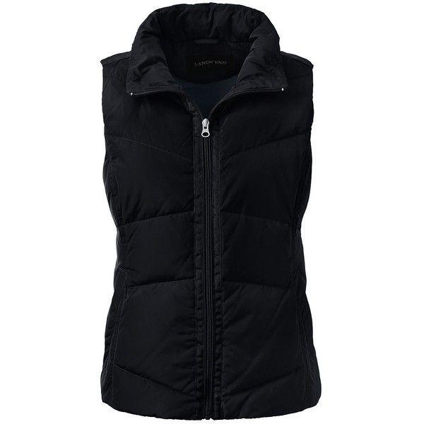 Lands' End Women's Petite Down Vest (£24) ❤ liked on Polyvore featuring outerwear, vests, vest, black, vest waistcoat, down vest, down filled vest, petite vests and water resistant vest