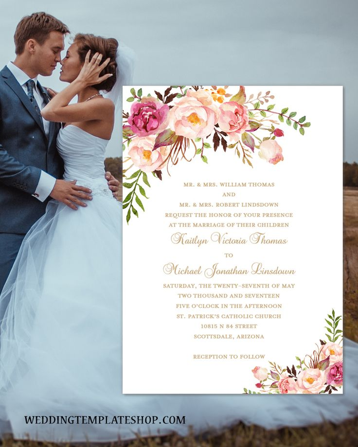 templates for wedding card design%0A Printable Wedding Invitation Romantic Blossoms Make Your Own Invitations DIY