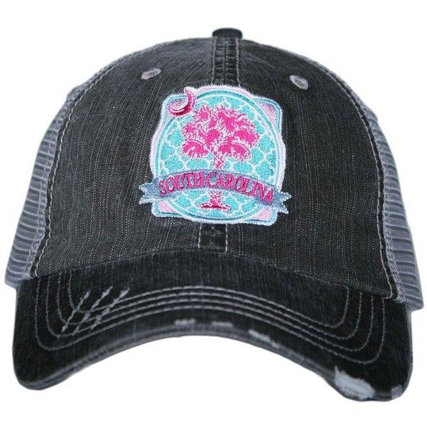 South Carolina Palmetto Moon Trucker Hat Katydid via Polyvore featuring accessories, hats, bucket hat, trucker hats, beanie cap hat, fisherman hat and fishing hat