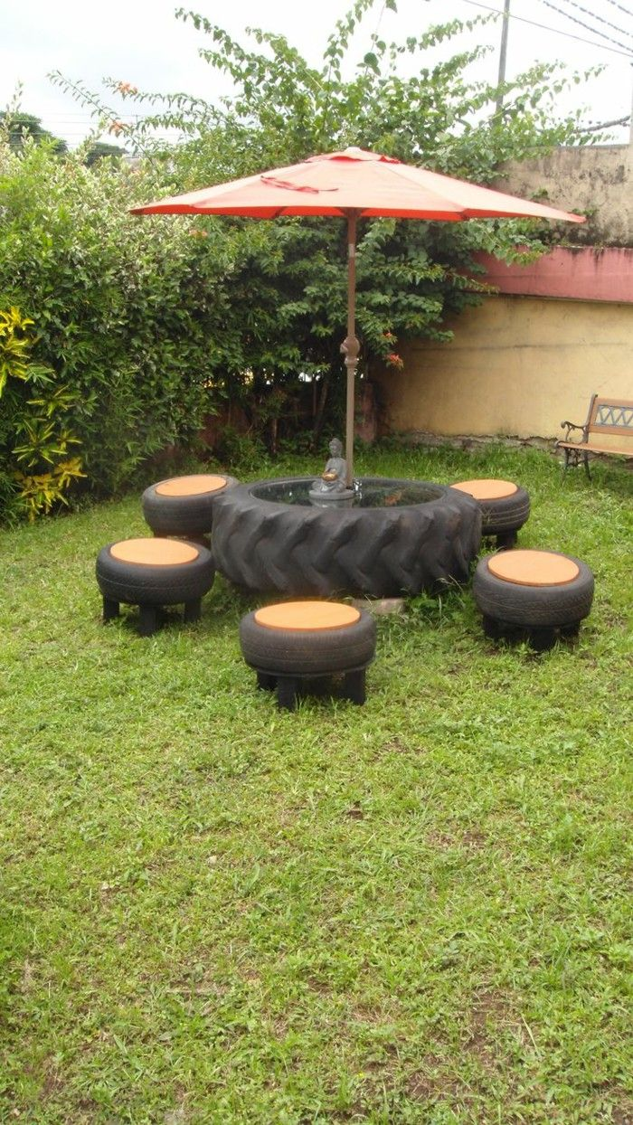 picnic table and stools repurposed from tires - Garden Ideas Using Old Tires