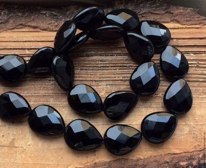 Для украшений ручной работы. Ярмарка Мастеров - ручная работа. Купить Оникс черный 20 мм капля огранка бусины камни для украшений. Handmade.