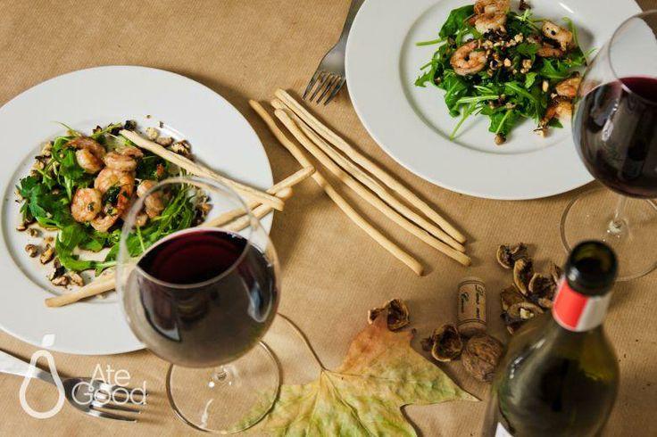 AteGood Recipes: jesienne krewetki z orzechami włoskimi #schrimps #wine