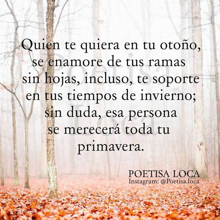 〽️ Quien te quiera en tu otoño, se enamore de tus ramas sin hojas, incluso, te soporte en tus tiempos de invierno; sin duda, esa persona se merecerá toda tu primavera.