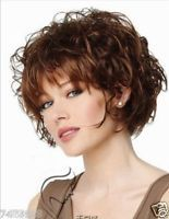 100% Real Hair! Wigs Fashion Sexy Women Short Curly Wavy Brown Human Hair Wig